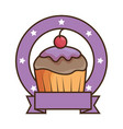 sweet cupcake emblem with ribbon vector image