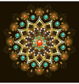 Golden Mandala with Turquoise vector image vector image