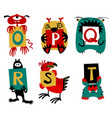 kids alphabet with cute colorful monsters or vector image