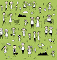 family set seamless pattern design vector image vector image
