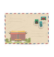 vintage postal envelope with taiwan stamps vector image