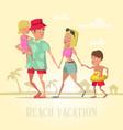 happy family on beach vacation vector image