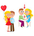 loving couple kissing and dating in cafe vector image