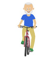 senior man riding a bicycle over white background vector image vector image