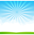 Nature Blue sky sunburst copy space and greenfiel vector image