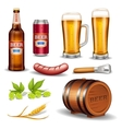 Beer Realistic Icons Collection vector image
