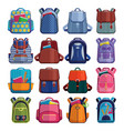 cartoon kids school bags backpack back to school vector image
