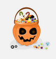 collection of halloween buckets vector image