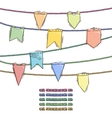 Set of doodle flags with elemens for rope brushes vector image