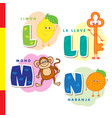 spanish alphabet lemon key monkey orange vector image