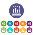 medical test tubes in holder set icons vector image