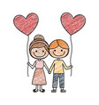 color pencil drawing of caricature of boy and girl vector image