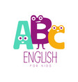 english for kids logo symbol colorful hand drawn vector image