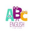 english for kids logo symbol colorful hand drawn vector image
