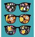 Retro sunglasses with comics reflection vector image vector image