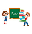 Boy and girl at physics lesson in school vector image