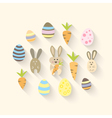 Eastern icon set with carrots and eggs vector image