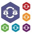 Dollar-ruble exchange hexagon icon set vector image