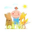 Animals fox bear bird and kid childish funny vector image vector image