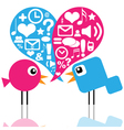Birds with social media icons vector image