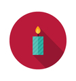 Christmas Stripped Candle Flat Icon vector image
