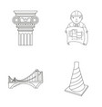 column master with drawing bridge index cone vector image