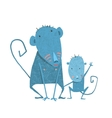 Funny Kids Monkey Characters Mother and Child vector image