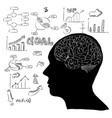 human brain with infographic diagram for business vector image