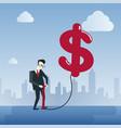 rich business man hold dollar sign money finance vector image