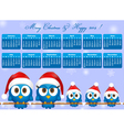 2014 calendar with funny blue birds family vector image