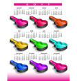 2017 rainbow of nine guitar cases calendar vector image