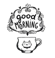Good morning sketch with cup of coffee and cat vector image