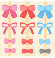 cute silky or satin ribbon or bow for decorate on vector image