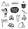 Outdoor adventures doodle set vector image