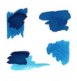 grunge brush stroke blue set vector image