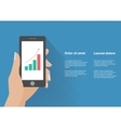 Hand holing smart phone with increasing bar chart vector image