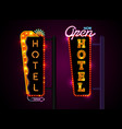 neon hotel sign set vertically text vector image