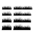 set of black silhouette grass in different height vector image
