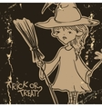 Witch Girl With Bat And Broom vector image
