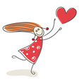 Happy little girl in love vector image vector image