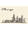 Chicago skyline city architecture drawn vector image