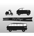 Black and white logos land transport motor vector image