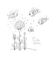 Cute cartoon bees vector image