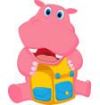 Happy hippo cartoon with school bag vector image