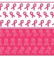 Pink ribbons seamless borders vector image