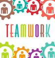 Teamwork gear people background vector image vector image