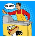 Hot dog guy pop art cartoon style vector image