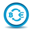 Bitcoin-euro exchange icon blue 3D vector image