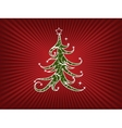 Christmas Tree On A Red Stripes Background vector image