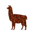 lama mammal color silhouette animal vector image